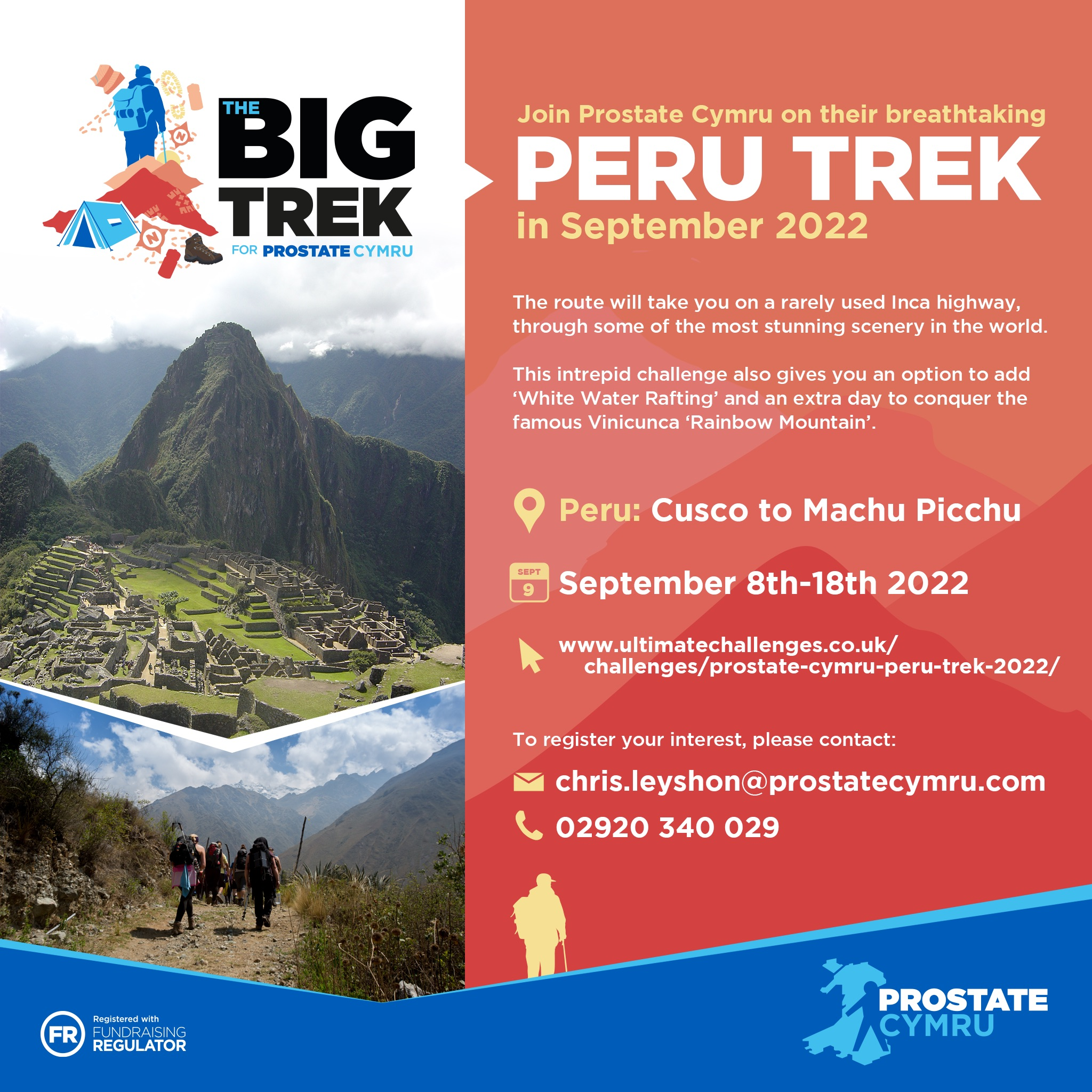 Prostate Cymru announce The Big Trek to Machu Picchu.